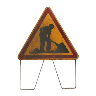 French Roadwork in Progress Sign For Sale