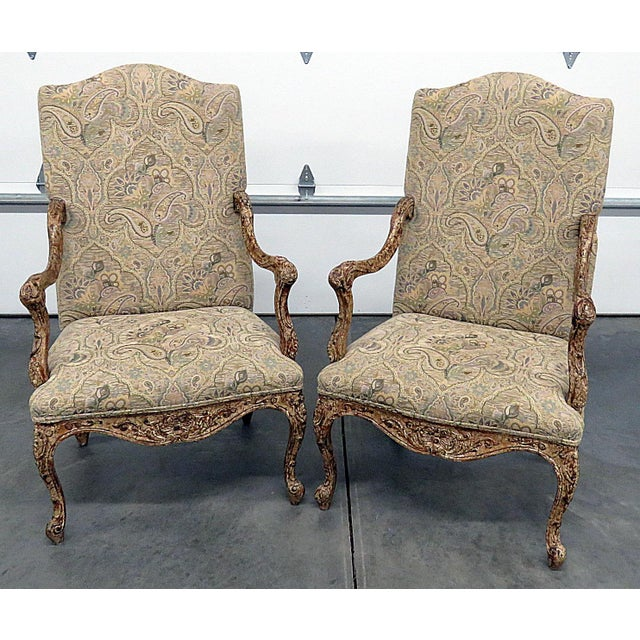 Louis XV Style Tapestry Armchairs - a Pair For Sale - Image 12 of 12