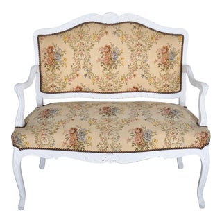 1960's French Louis XVI Whitewashed Oak Loveseat Canape with Floral Upholstery For Sale