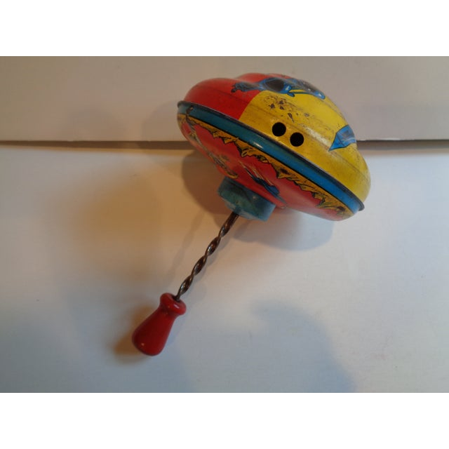 1960s Metal Spinning Top Toy With Space Theme - Image 4 of 5