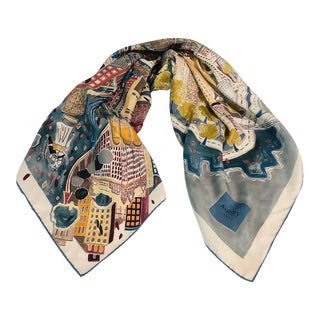 Asprey & Co New York City Landmarks Silk Scarf For Sale