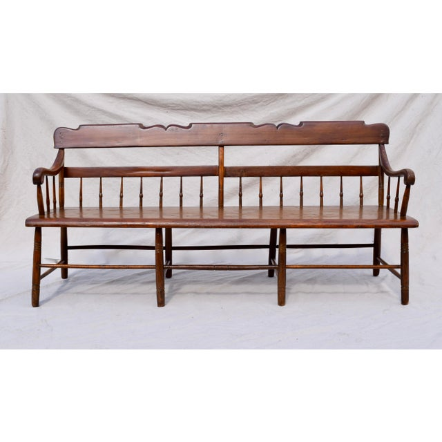 Pennsylvania Plank Half Spindle Bench For Sale - Image 10 of 12