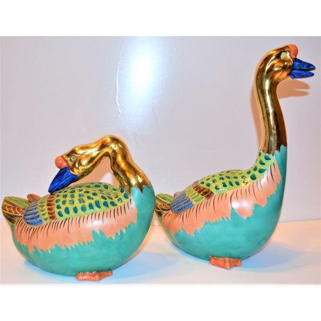 Metal (Final Markdown) Vintage Japanese Porcelain Kutani Geese - a Pair For Sale - Image 7 of 10