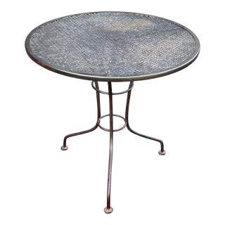 Vintage Wrought Iron Mesh Patio Bistro Table For Sale