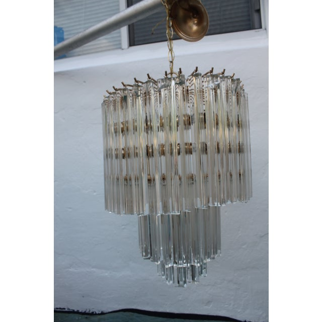 Venini Three-Tiered Glass Prism Chandelier. - Image 11 of 11