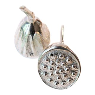 Silverplate Lotus Pod Salt and Pepper Shakers - A Pair For Sale