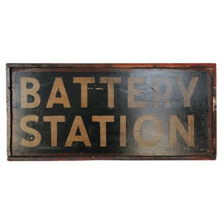 "Double-Sided ""Battery Station"" Wooden Sign"