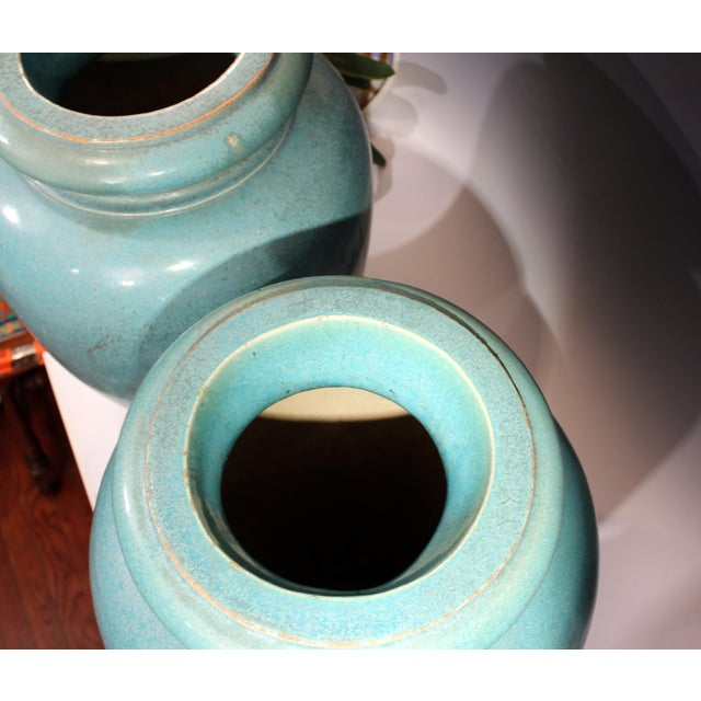 1930s Large Pair of Galloway Terracotta Company Pottery Turquoise Urns Vases For Sale - Image 5 of 12