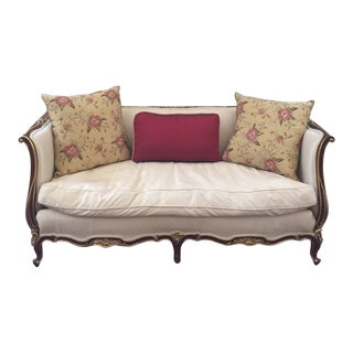Karges Louis XV Silk Upholstered Mahogany Love Seat