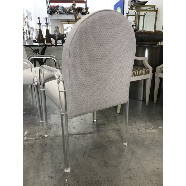 Textile 1970s Vintage Lucite Dining Chairs- Set of 6 For Sale - Image 7 of 10