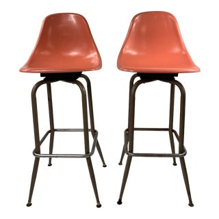 Mid-Century Modern Swivel Orange Shell Bar Stools - a Pair For Sale