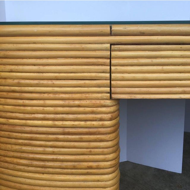 Wicker Paul Frankl Style Mid-Century Modern Sculptural Oval Reed Bamboo Desk Console For Sale - Image 7 of 10
