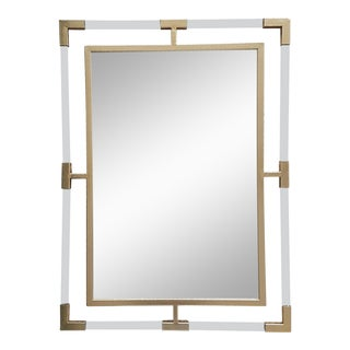 Large Lucite and Gold Metal Beveled Mirror