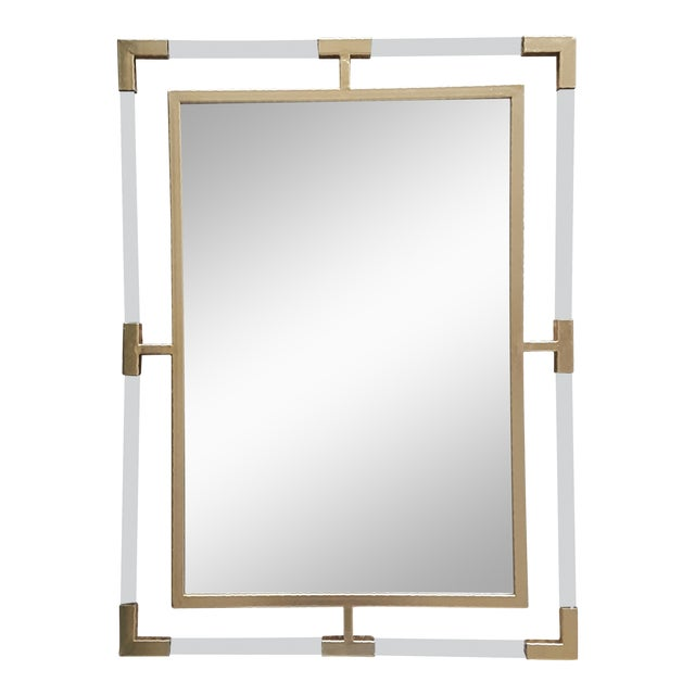 Large Lucite and Gold Metal Beveled Mirror - Image 1 of 9