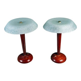 Mid-Century Modern Teak Table Lamps with Frosted Shade - a Pair For Sale