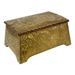 1900s Art Nouveau Brass Tin Box For Sale
