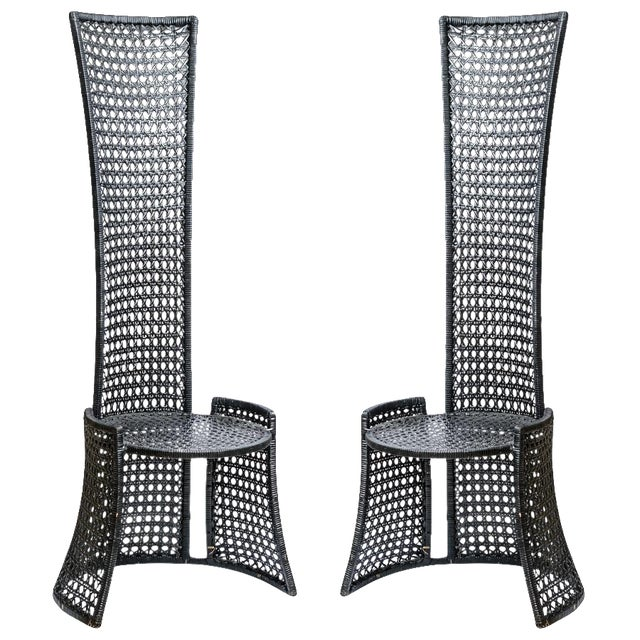 Unusual Mid-Century High Back Black Woven Rattan Cane Chairs, A-Pair For Sale - Image 13 of 13