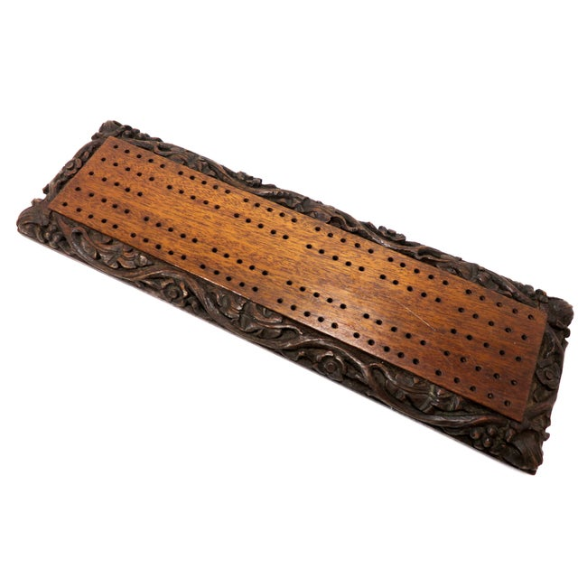 Mahogany Antique Carved Mahogany Cribbage Game Board For Sale - Image 7 of 13