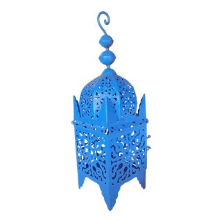 1960s Moroccan Lantern Pierced Metal for Candle For Sale