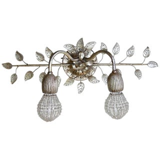 Banci Firenze Double Arm Glass Leaf Wall Sconce For Sale