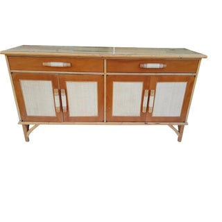 Vintage MCM FauX Bamboo Sideboard Faux Bamboo Mid Century Buffet Credenza For Sale