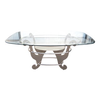 Contemporary Glass Dining Table For Sale