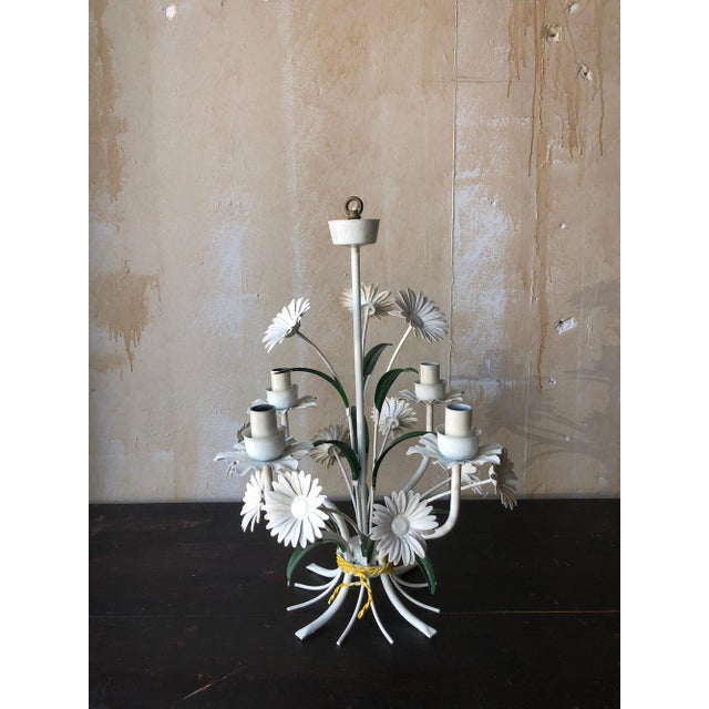 Green Vintage Tole Chandelier With Daisies For Sale - Image 8 of 10