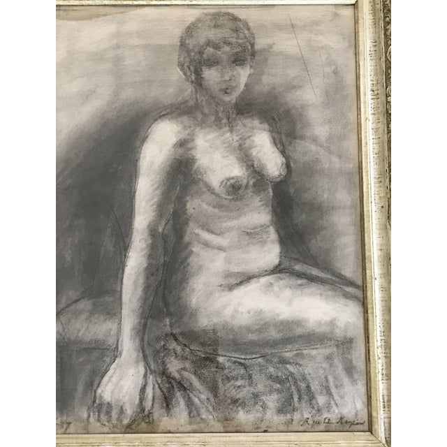 Mid-Century Framed Charcoal Nude Sketch For Sale - Image 4 of 10