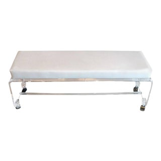 Lucite White Leather Waterfall End of Bed Bench Seat For Sale