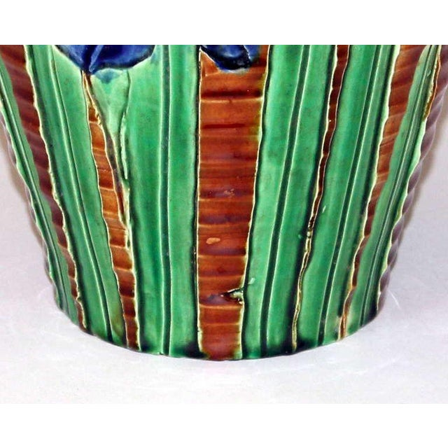 Awaji Pottery Art Nouveau Carved Iris Vase For Sale In New York - Image 6 of 11