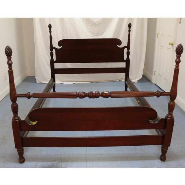 traditional mahogany chippendale kling pineapple full size bed frame chairish. Black Bedroom Furniture Sets. Home Design Ideas
