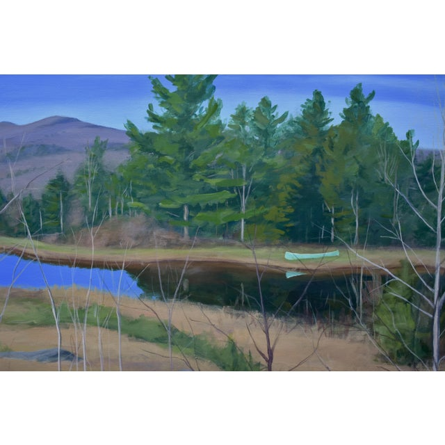 "Figurative Large ""Canoe, Pond, and Mountains in Vermont"" Painting by Stephen Remick For Sale - Image 3 of 13"
