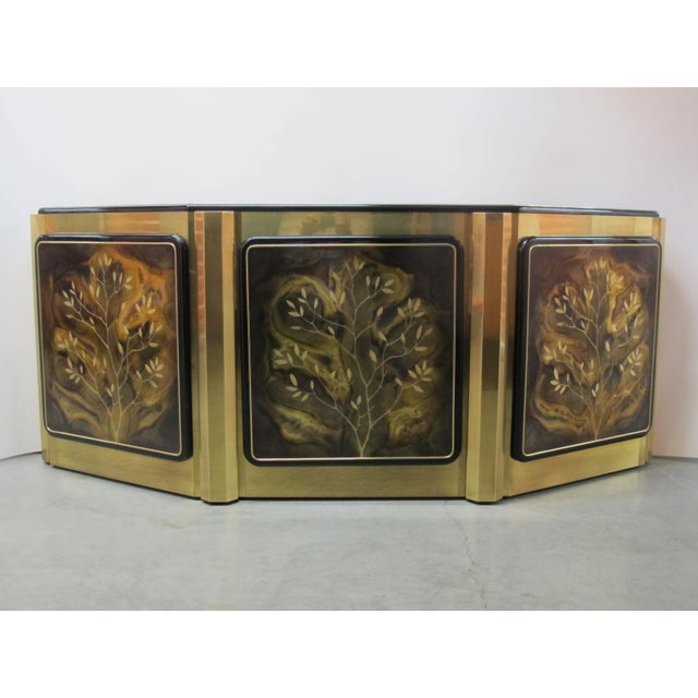 1970s Hollywood Regency Mastercraft Tree of Life Solid Brass and Black Lacquer Buffet For Sale - Image 12 of 12