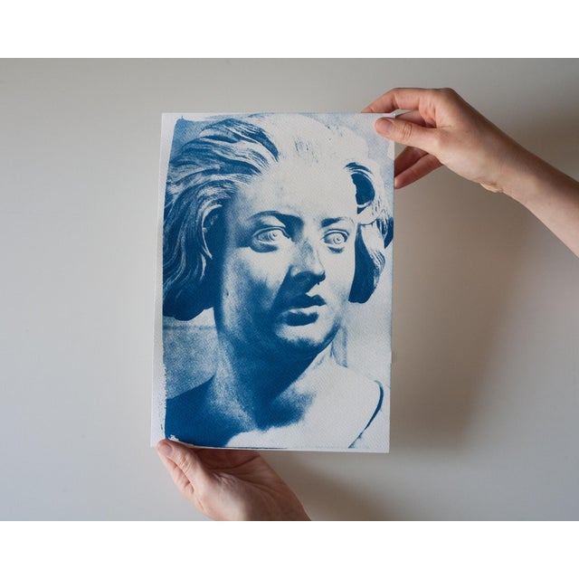 Craft Limited Serie Cyanotype Print - Bernini Woman Bust Sculpture on Watercolor Paper For Sale - Image 4 of 4