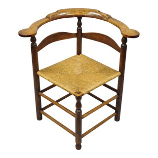 18th Century Antique Maple Wood and Rush Seat Corner Chair For Sale