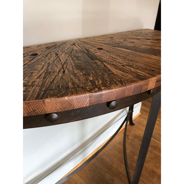 Modern Modern Wrought Iron and Repurposed Oak Console Table For Sale - Image 3 of 7