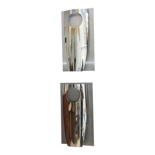 Pair of Italian Modern Polished Chrome and Stainless Steel Wall Lights, Reggiani For Sale