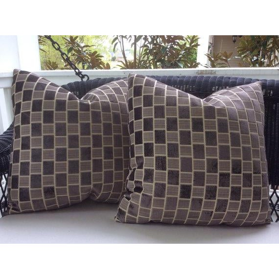 Fashion forward fabric from Pollack, these plush pillow covers feature a geometric block style pattern in alternating...
