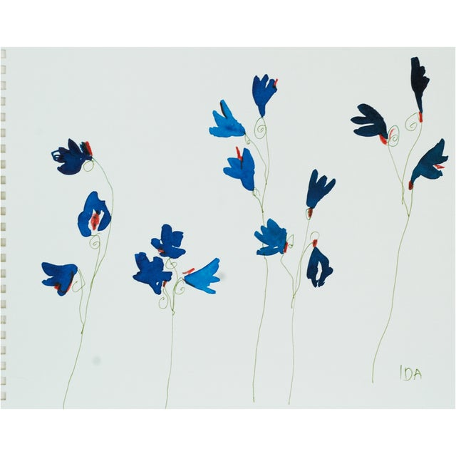 Bright Blue Wildflowers, Watercolors on Paper - Image 1 of 2