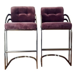 Purple Cantilever Bar Stools - A Pair