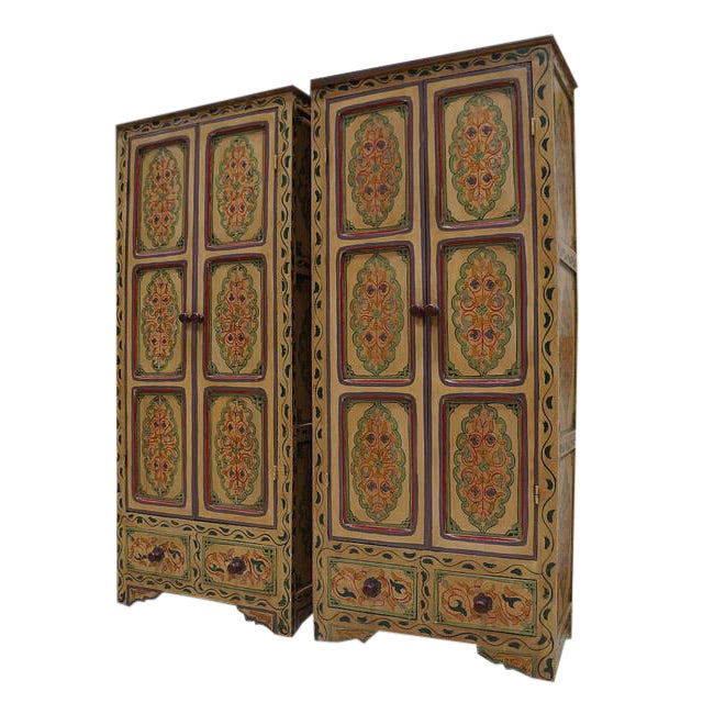 Bohemian Hand Painted Linen Chests - A Pair - Image 1 of 4