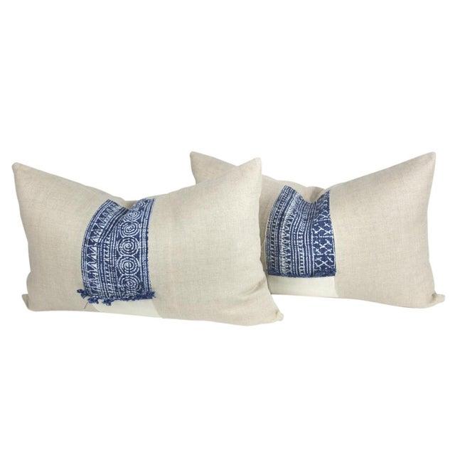 Indigo Batik Linen Pillows - A Pair - Image 2 of 5