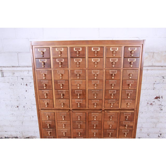 Americana Mid-Century 72-Drawer Library Card Catalog For Sale - Image 3 of 13