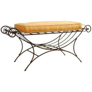 Mid-Century Italian Wrought Iron Curule Bench