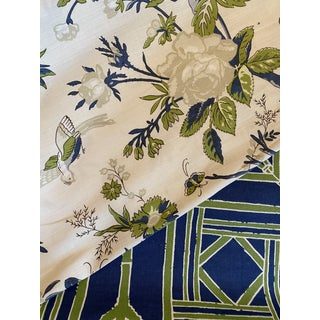 Thibaut Nemour Linen Fabric in Cream and Navy 2 6/8 Yards For Sale