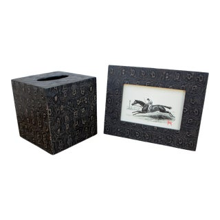 Pigeon and Poodle Oxford Picture Frame and Tissue Box Set - 2 Piece Set For Sale