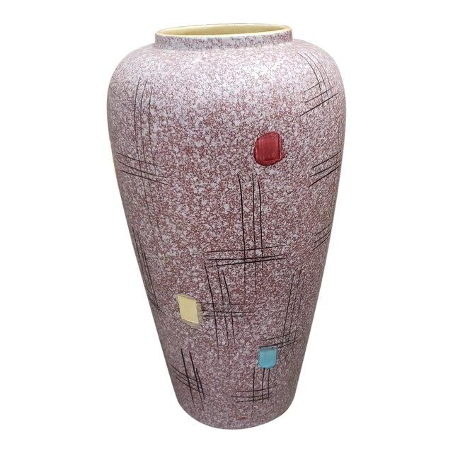 Mid Century 1960's Italian Bittosi Style Pottery Lava Glaze Baluster Vase For Sale