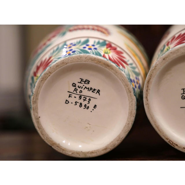 Pair of Early 20th Century French Hand Painted Vases Signed Hb Quimper For Sale - Image 10 of 12