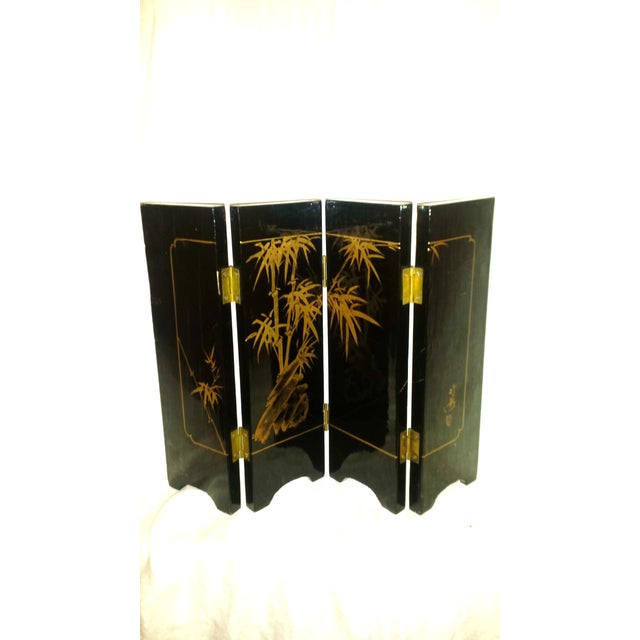 Chinese Courtesan Table Screen Black Lacquer - Image 8 of 9
