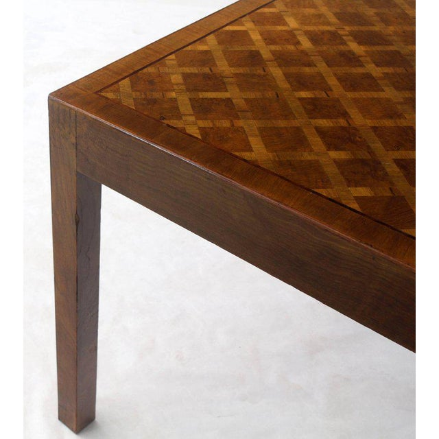 Brown Italian Parquet Marquetry Burl Walnut Top Parsons Desk Writing Table Two Drawers For Sale - Image 8 of 10
